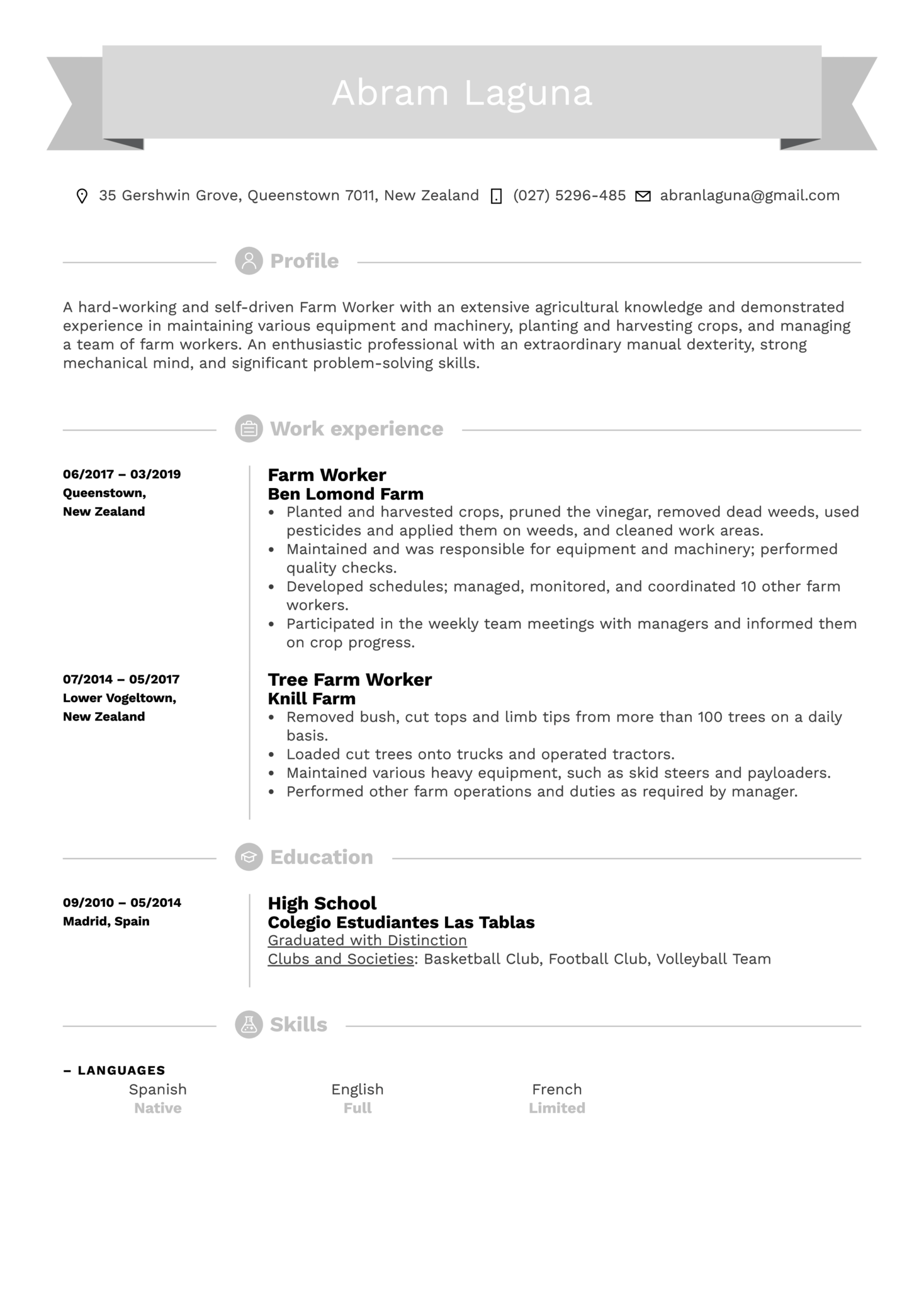 Farm Worker Resume Sample