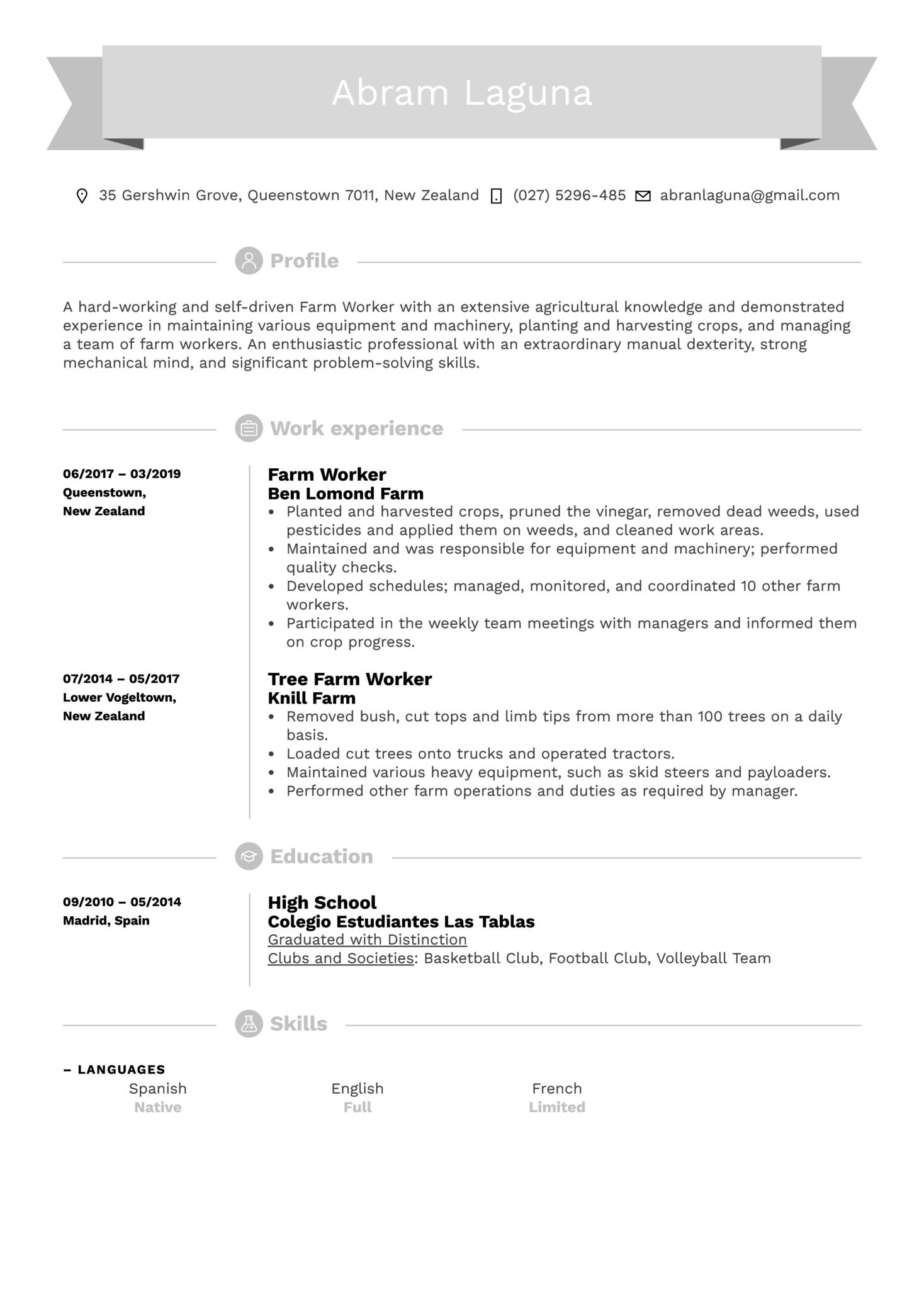 Farm Worker Resume Sample (časť 1)