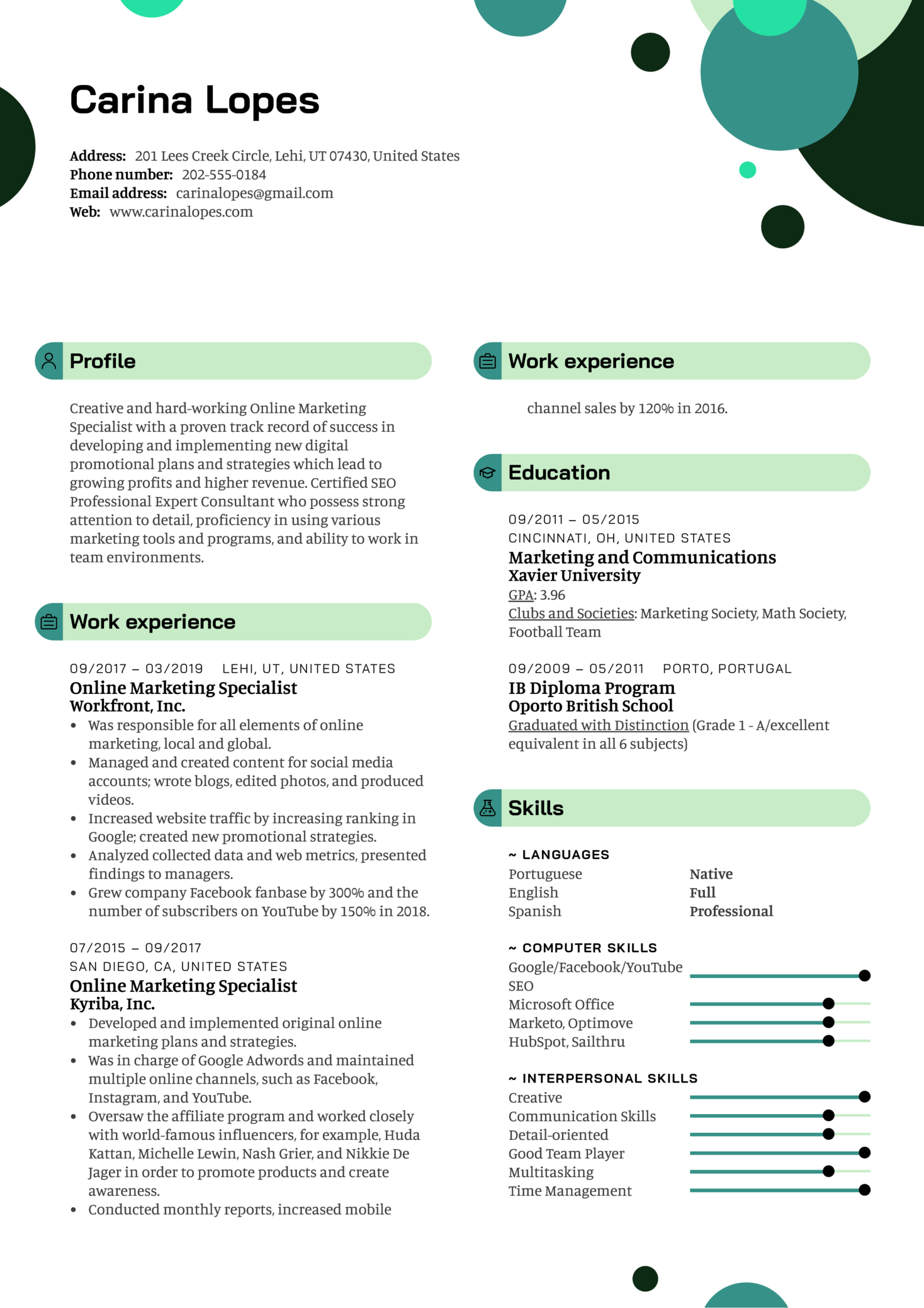Resume Examples By Real People Online Marketing Specialist