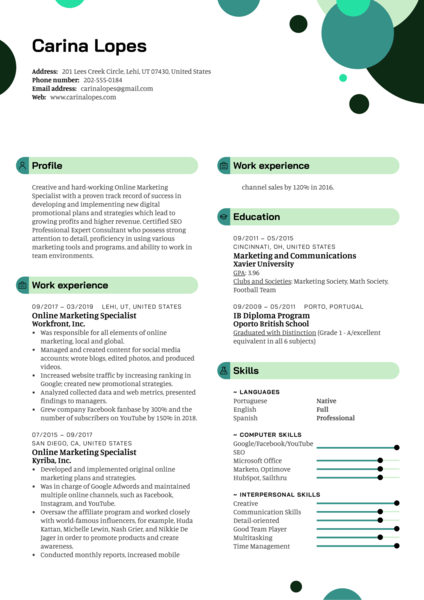 Online Marketing Specialist Resume Template