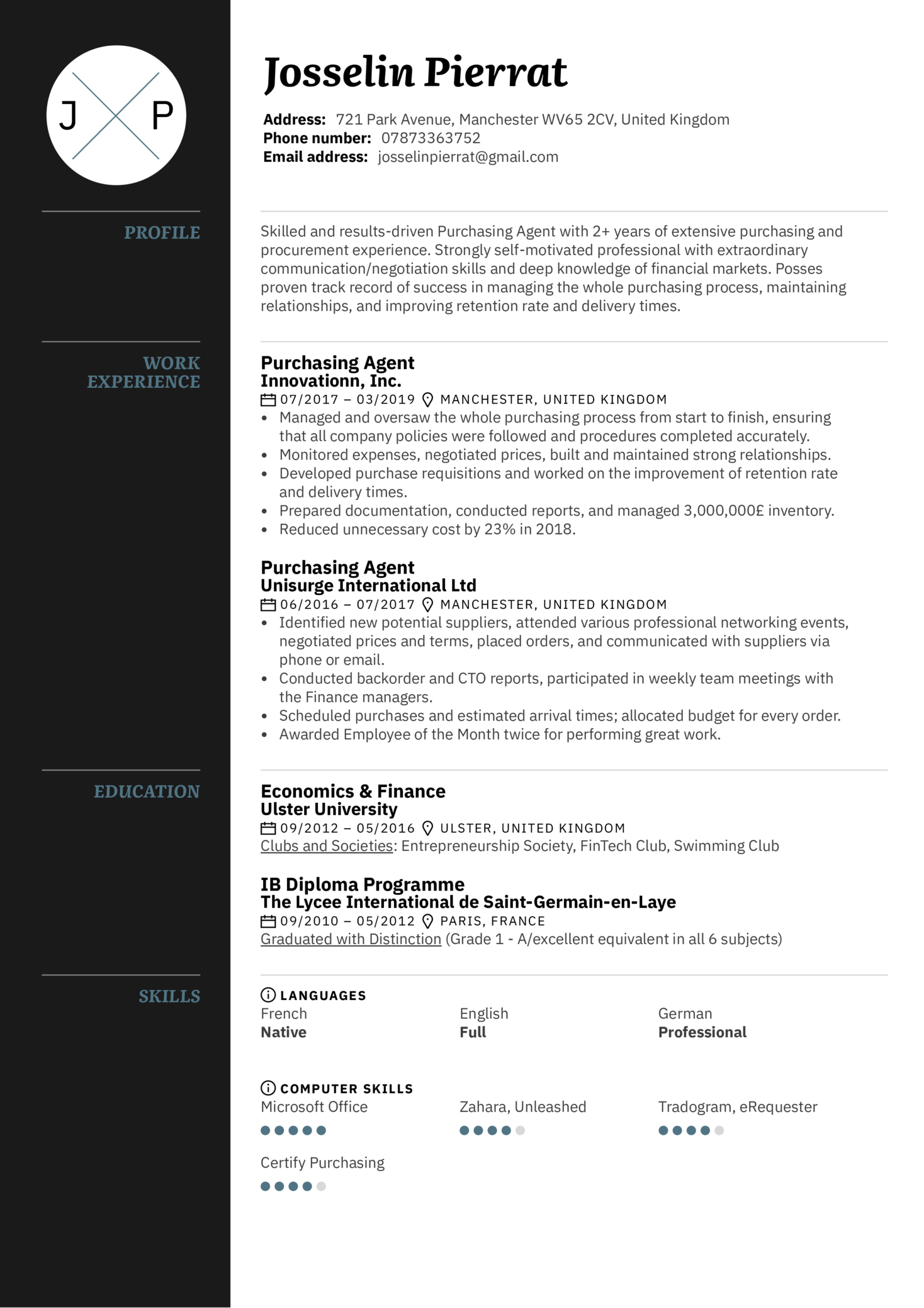 resume examples by real people  purchasing agent resume sample