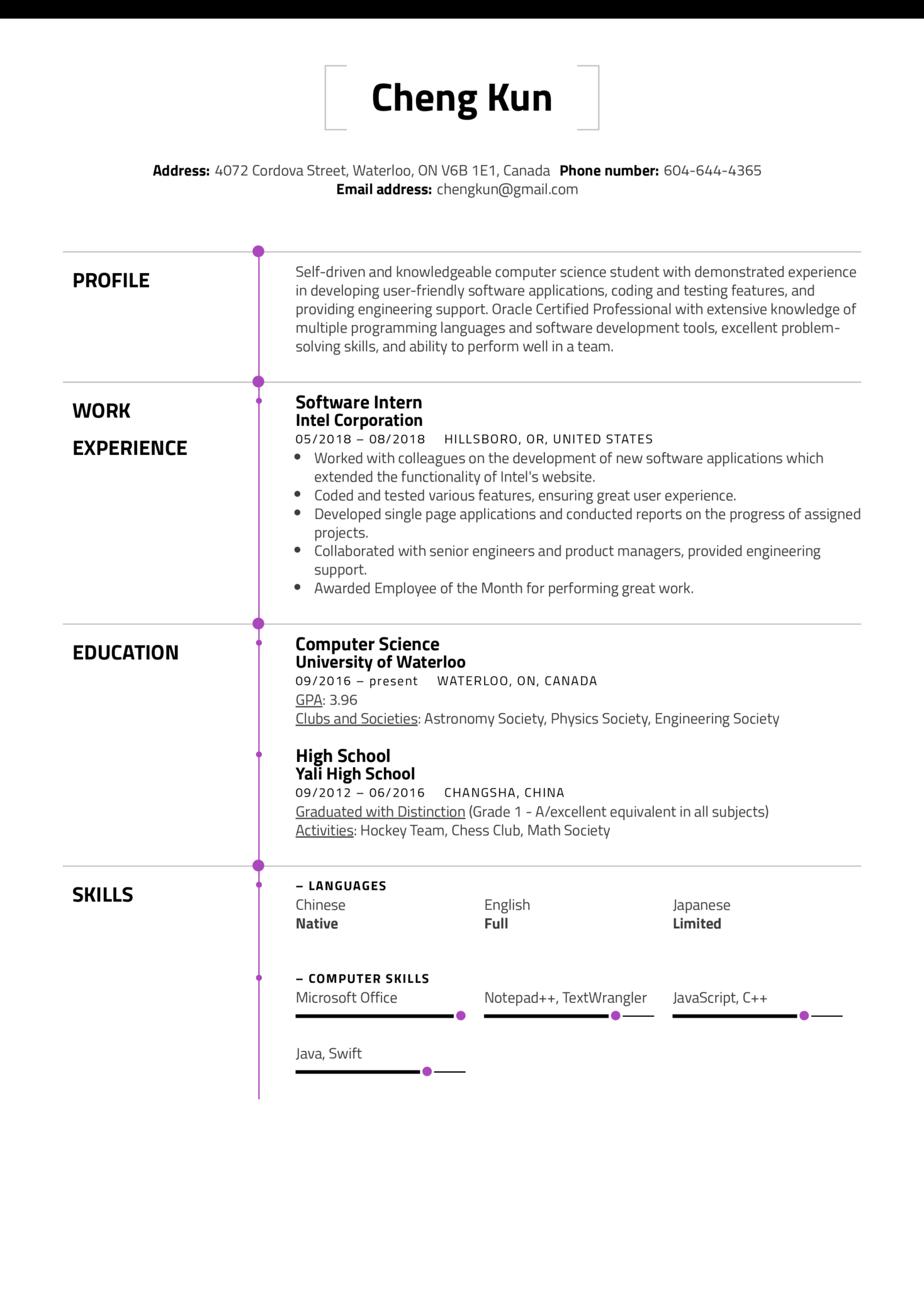 Resume Examples by Real People: University Student Resume ...