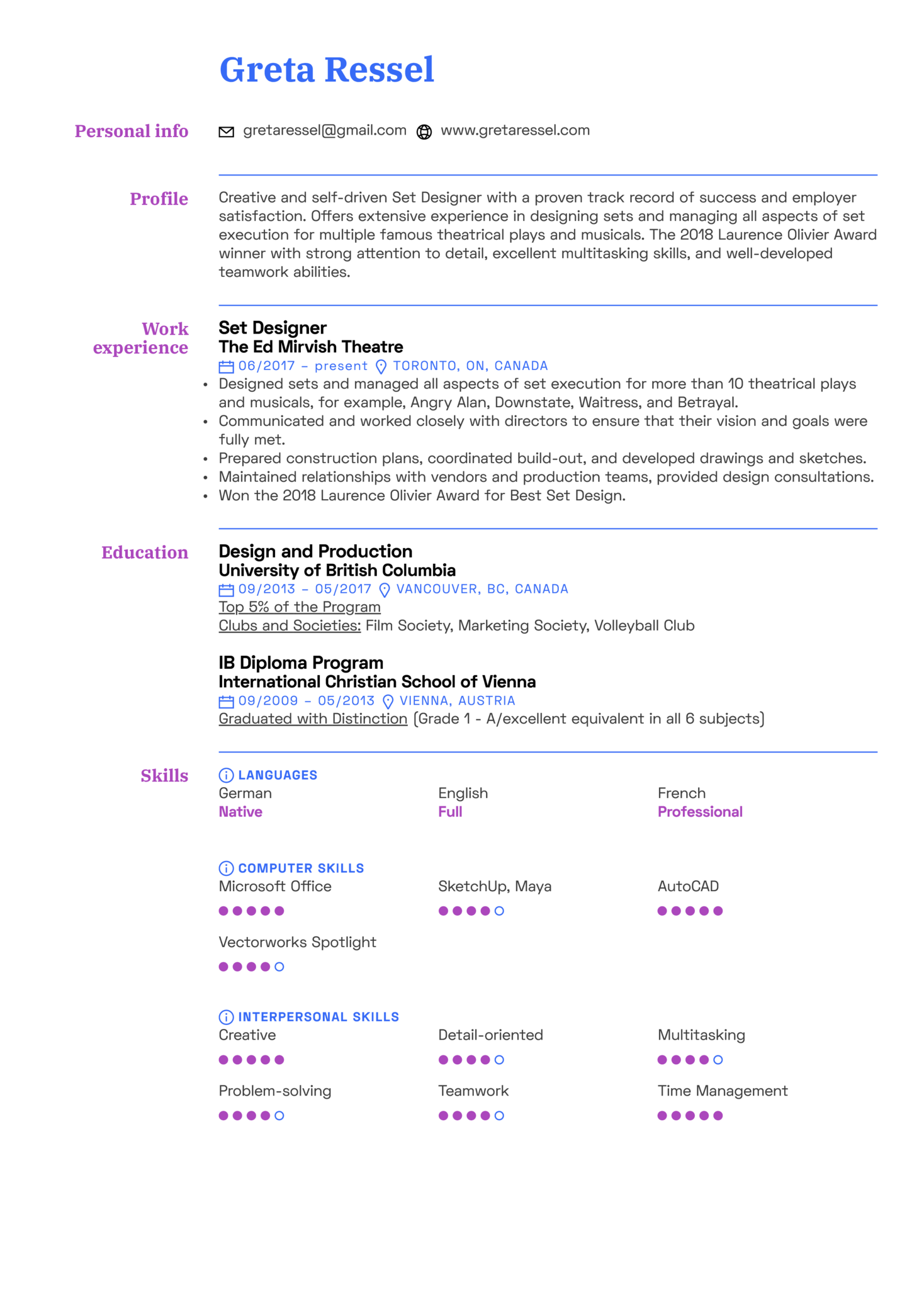 resume examples by real people  set designer resume
