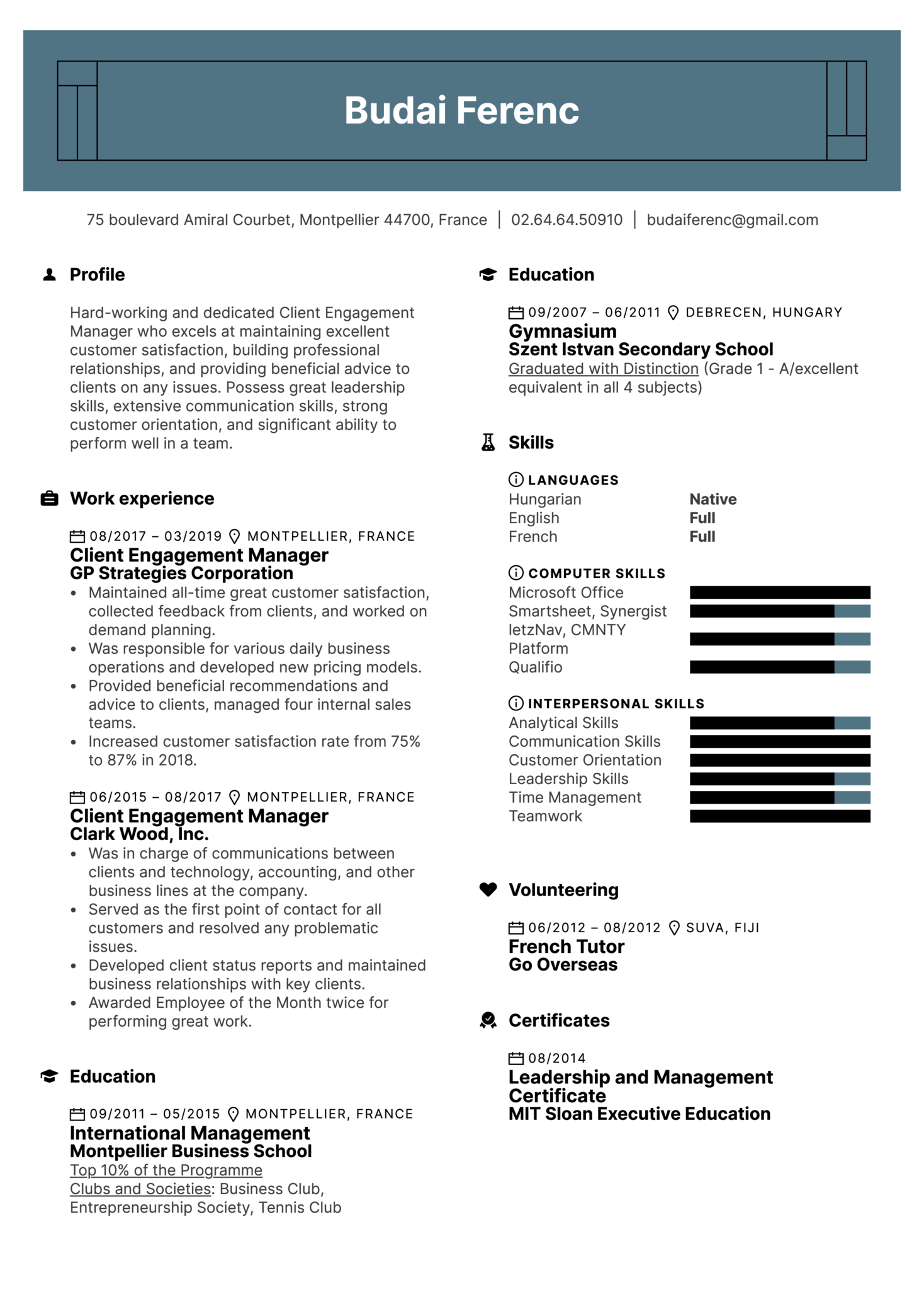 Client Engagement Manager Resume Sample