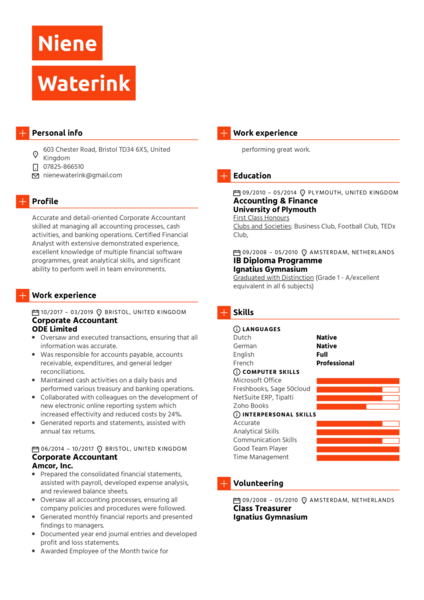 Corporate Accountant Resume Sample