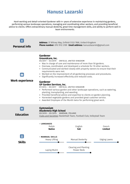 Gardener Resume Sample