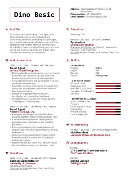 Travel Agent Resume Template