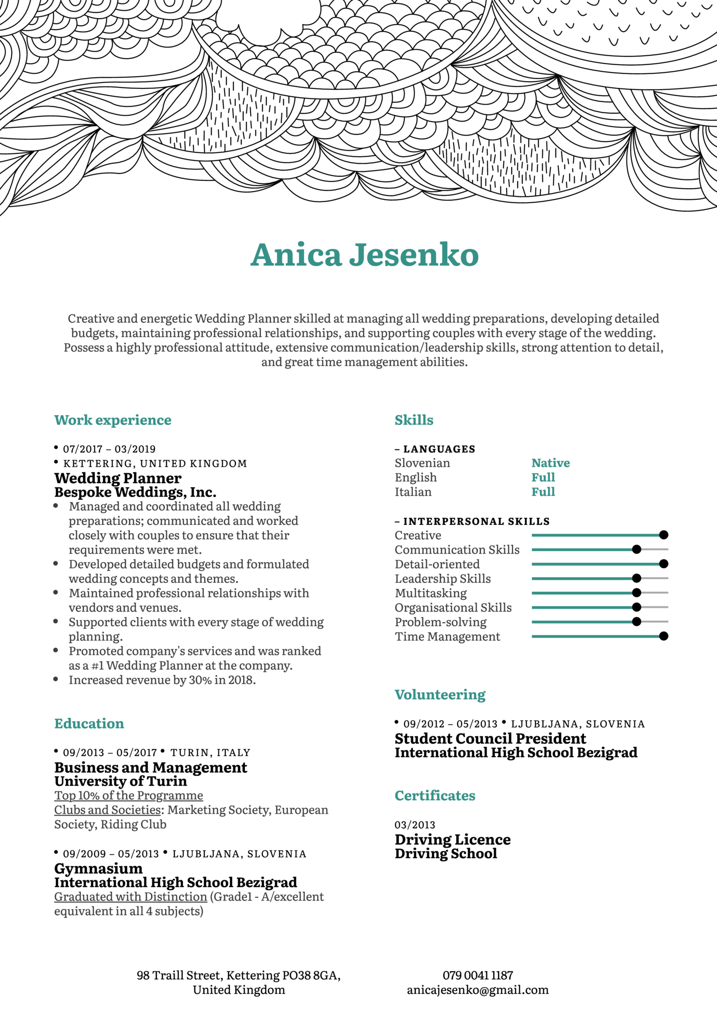 resume examples by real people  wedding planner resume example