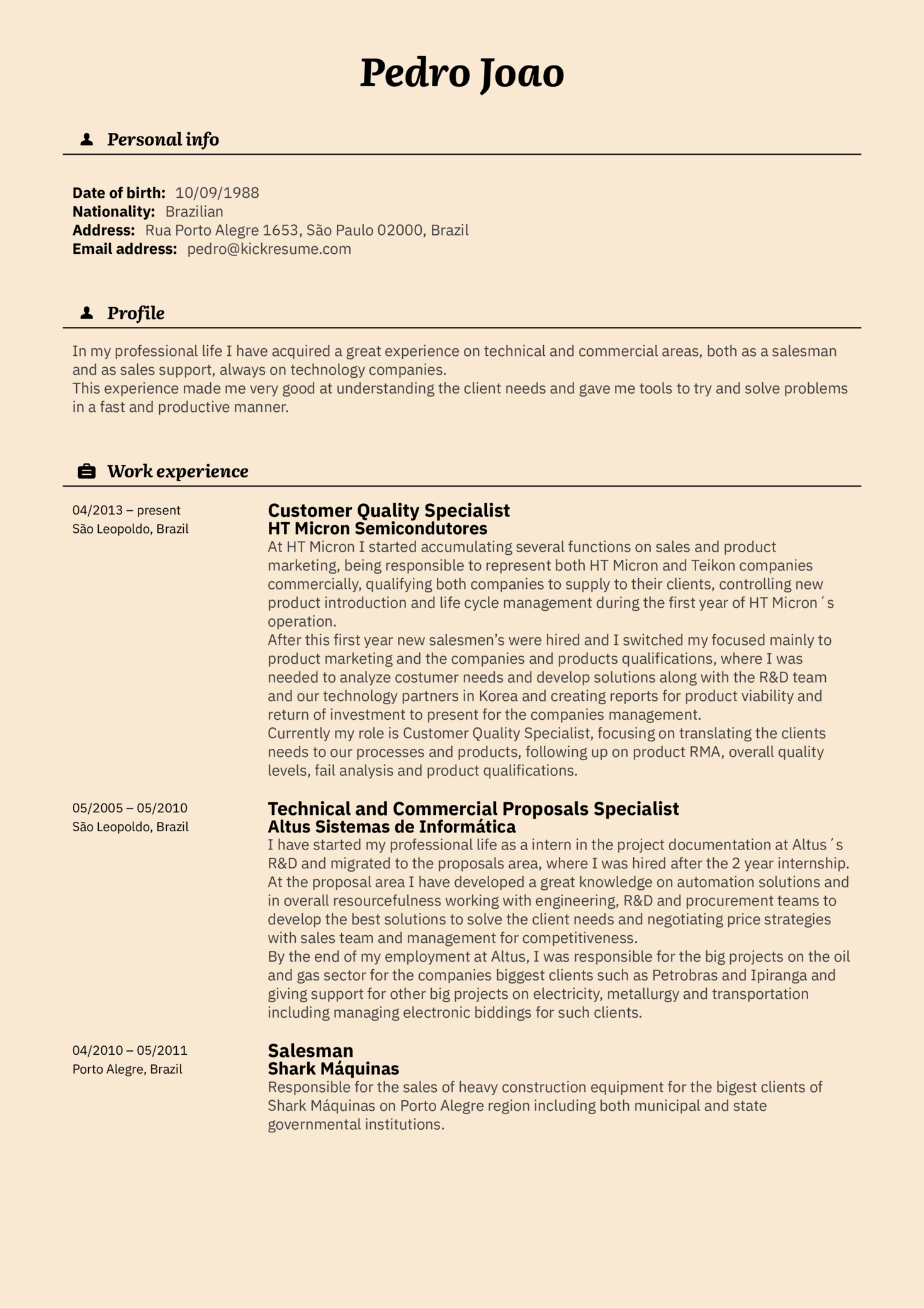 Customer Specialist Resume Example at Vodafone