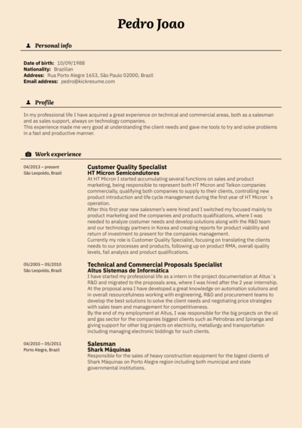 Release manager, Customer specialist resume example