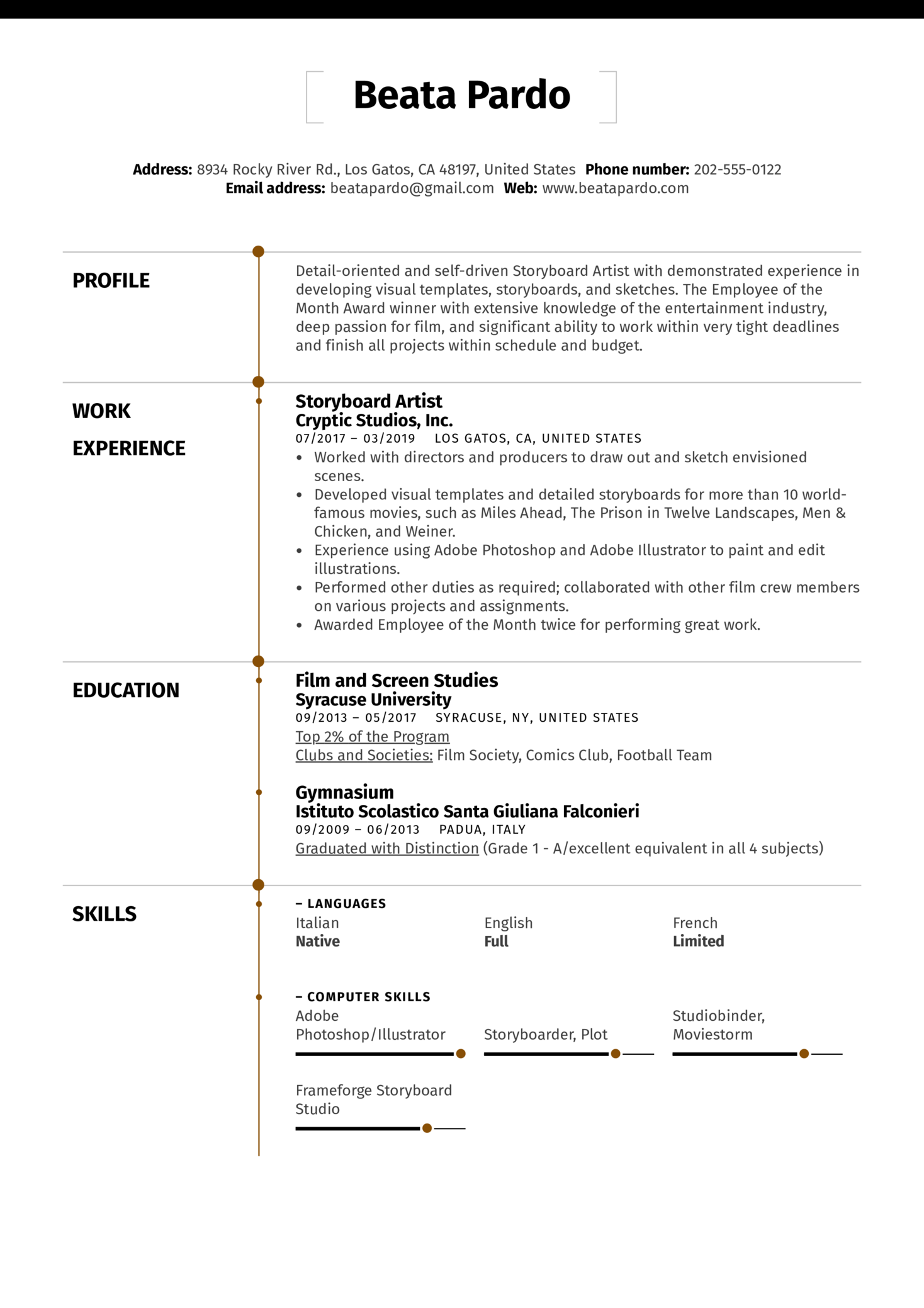 Resume Examples by Real People: Storyboard Artist Resume