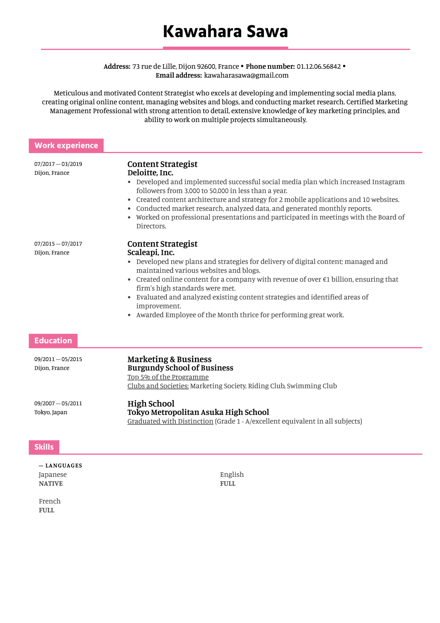 Content Strategist Resume Template