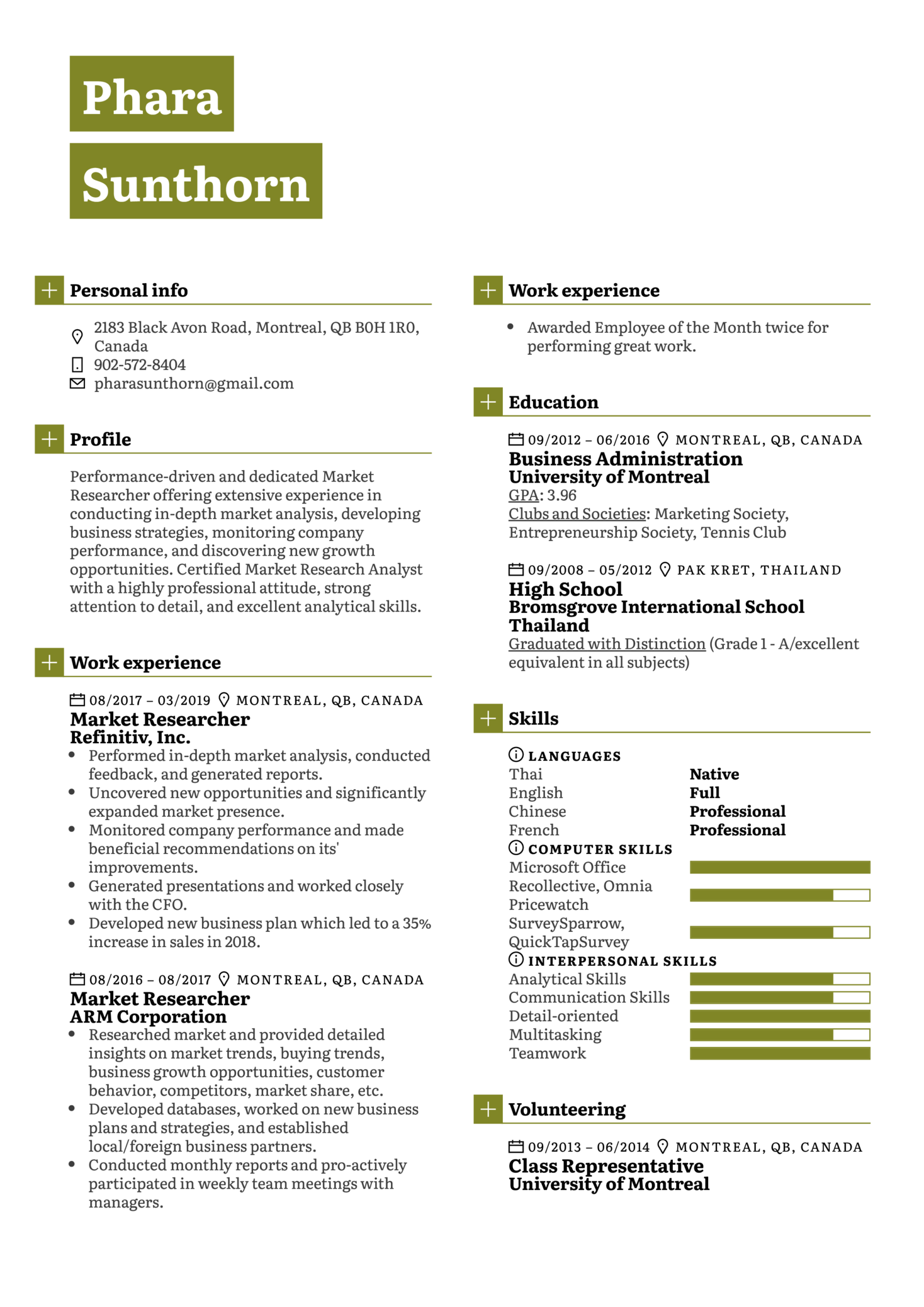 resume examples by real people  market researcher resume sample