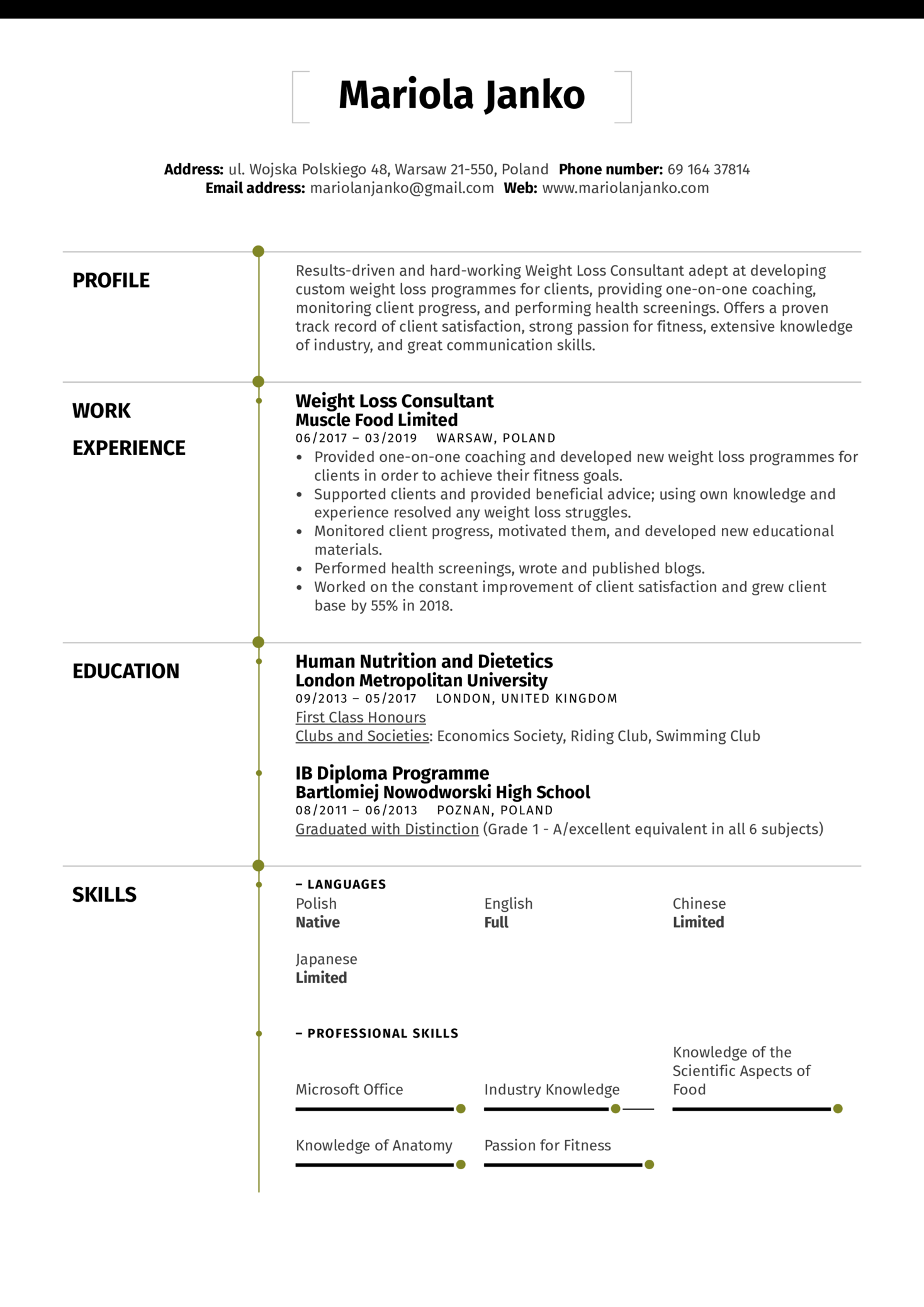 Weight Loss Consultant Resume Sample Kickresume