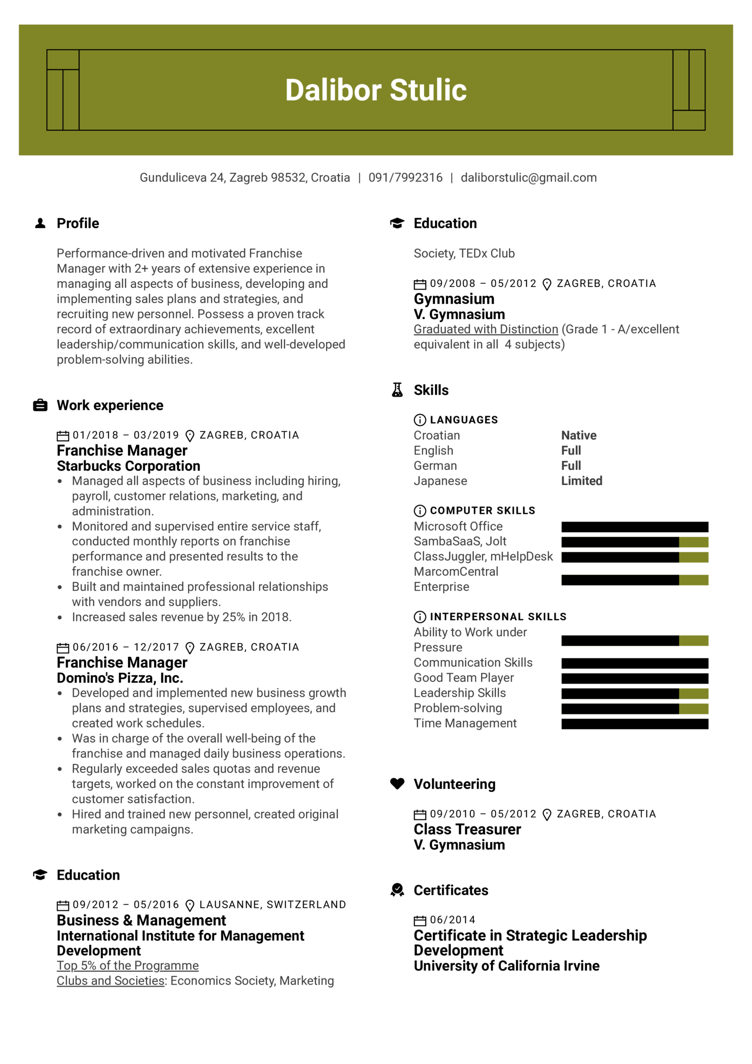 Franchise Manager Resume Sample