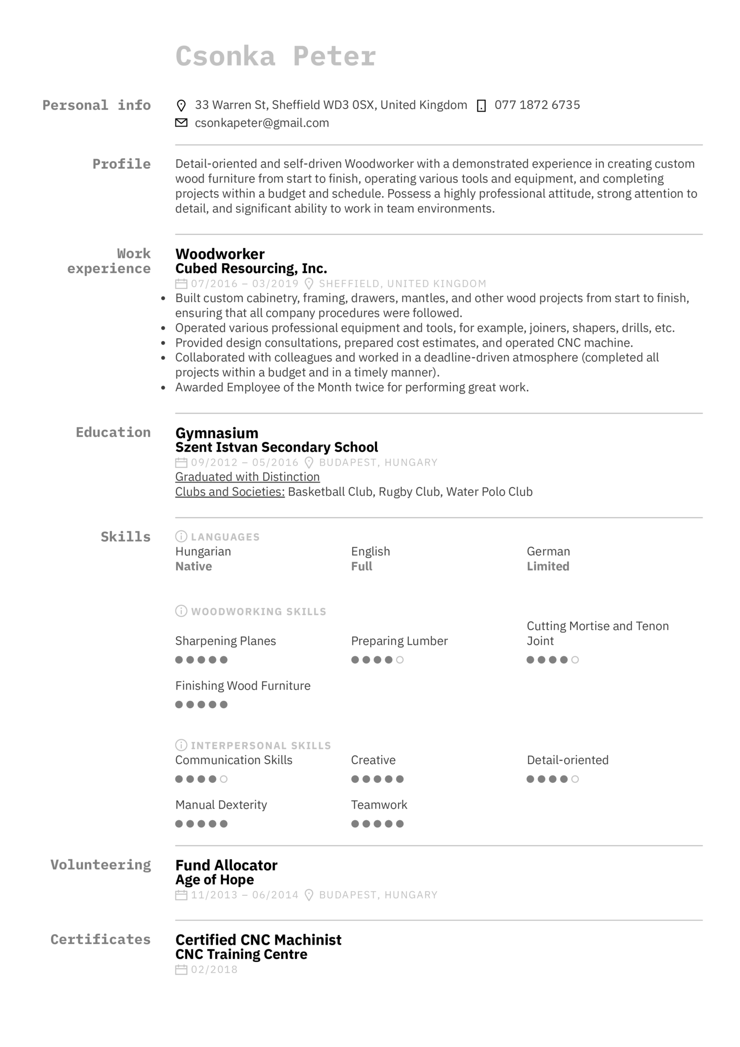 Woodworker Resume Example