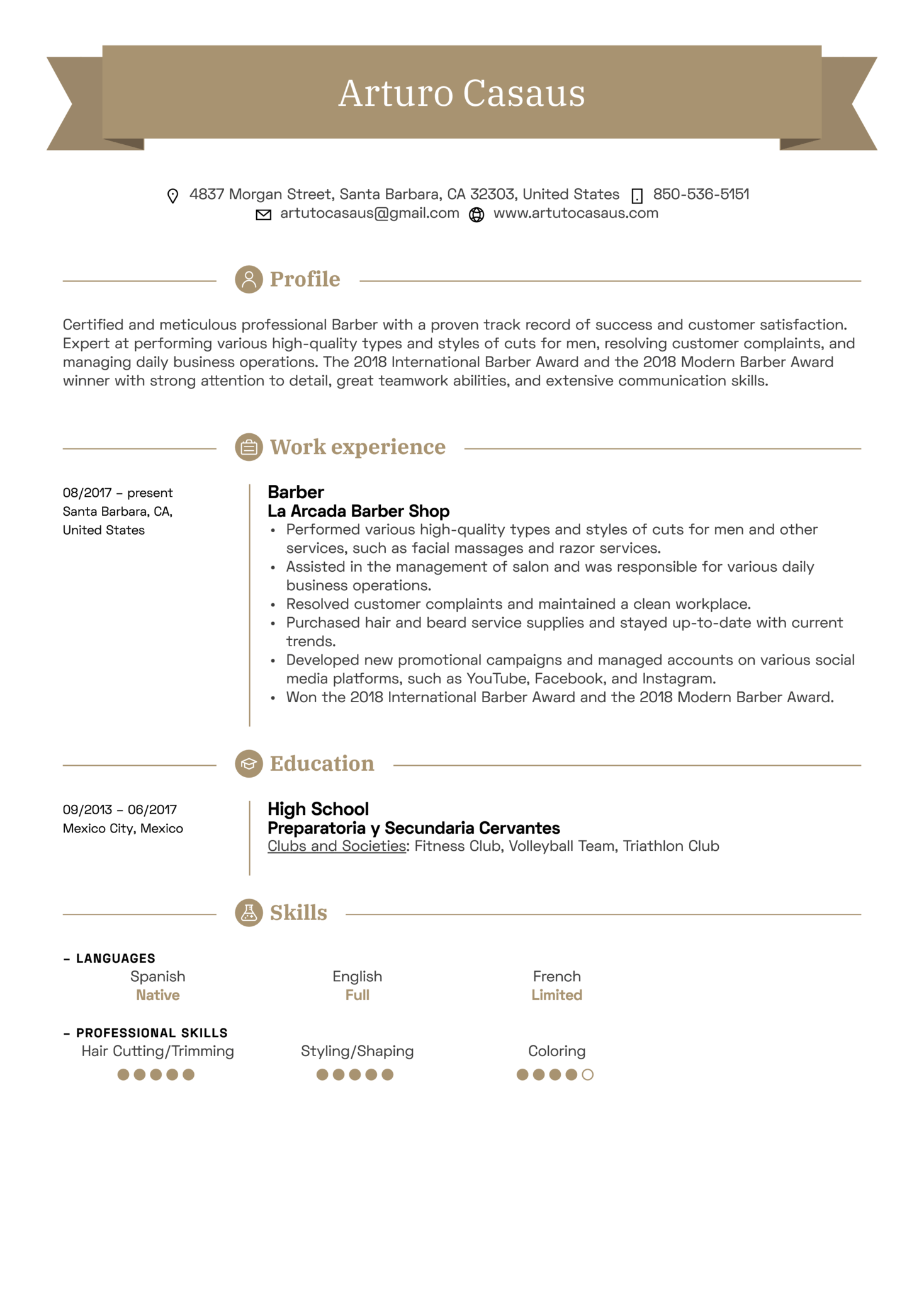 Resume Examples By Real People Barber Sample