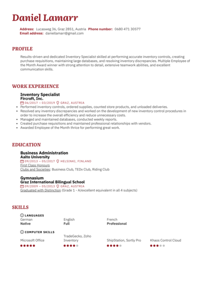 Inventory Specialist Resume Sample