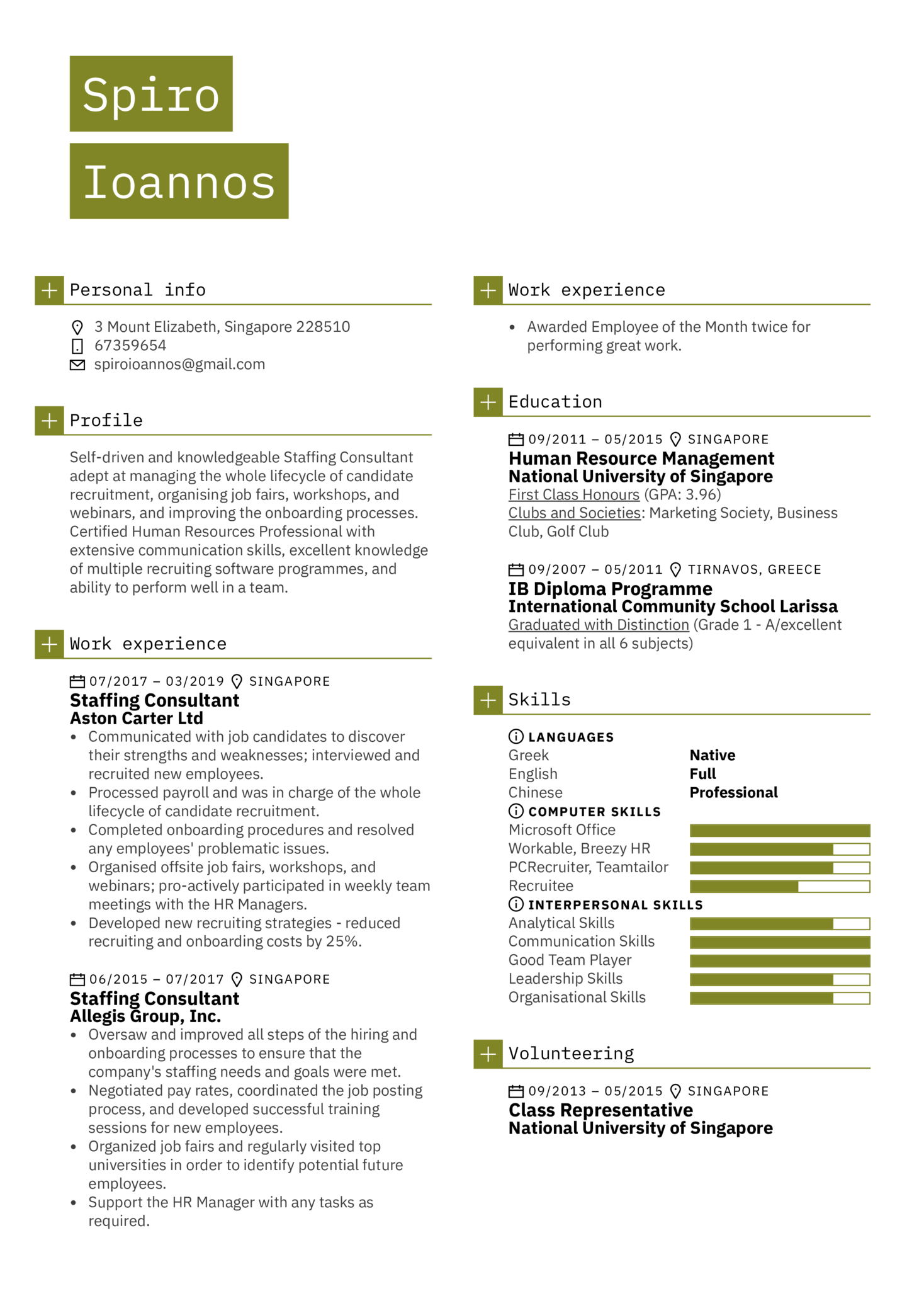 Staffing Consultant Resume Sample
