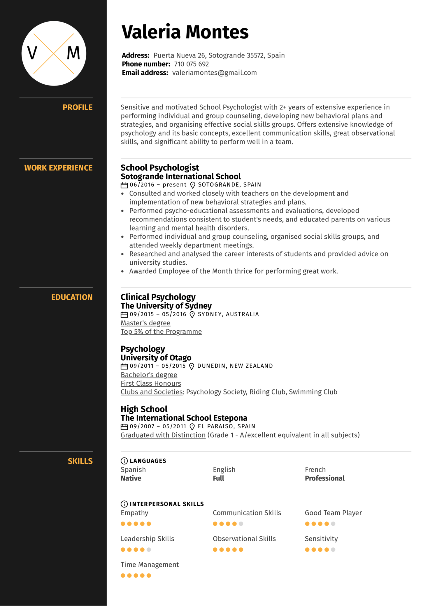 school psychologist resume sample