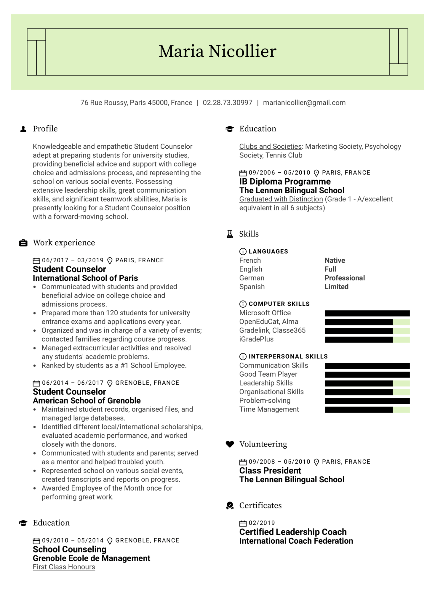 Student Counselor Resume Sample