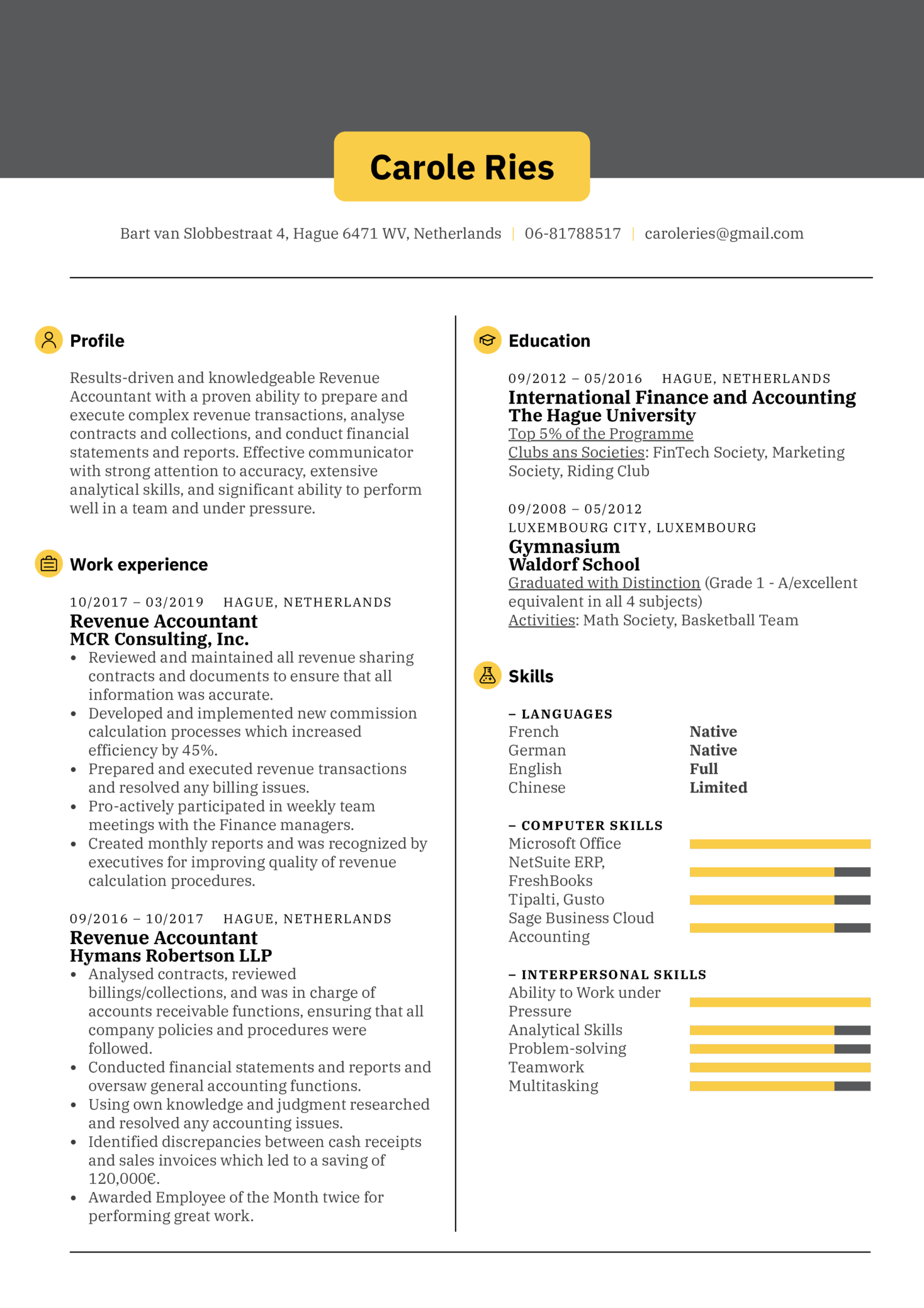 Revenue Accountant Resume Sample