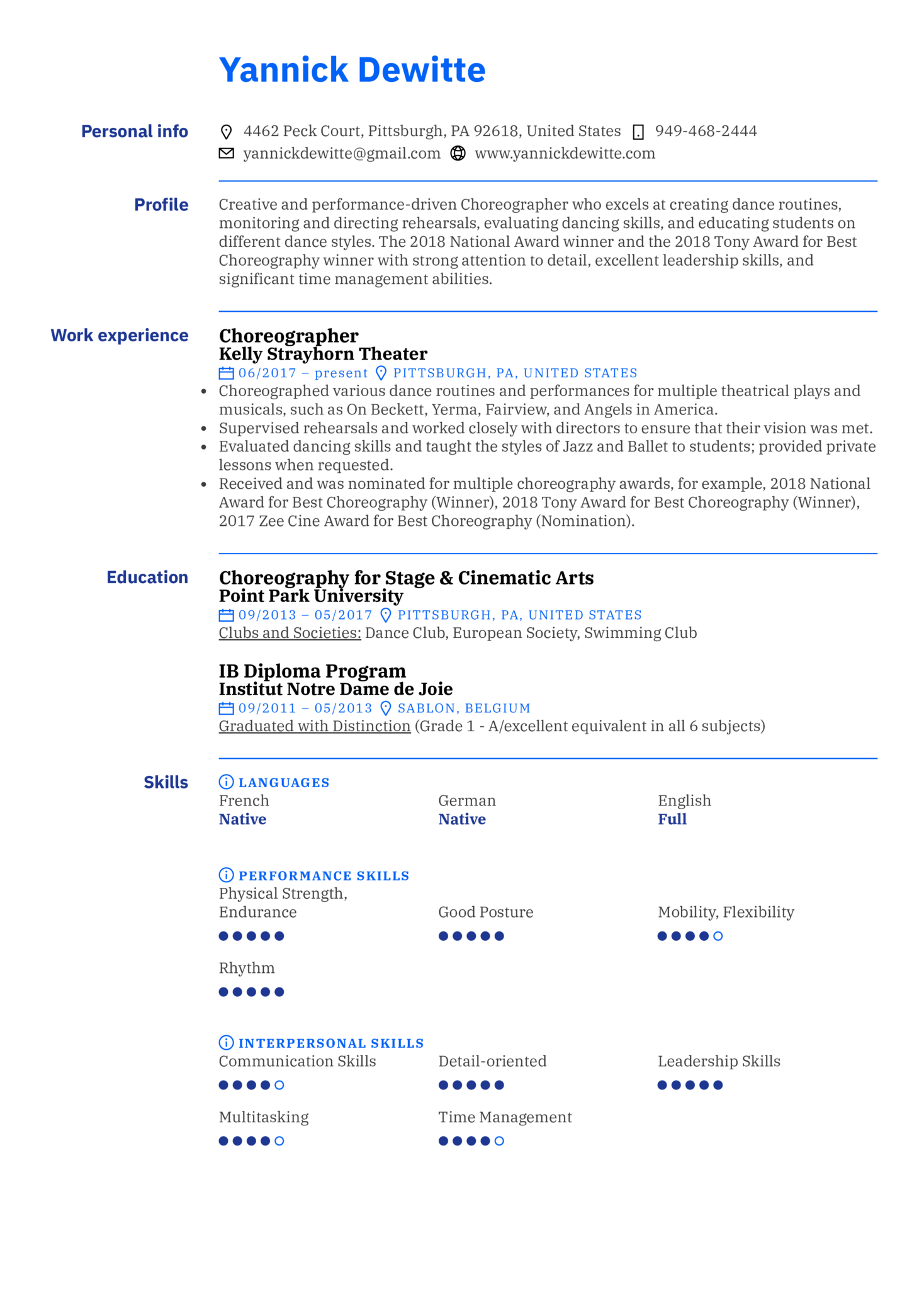 resume examples by real people  choreographer resume