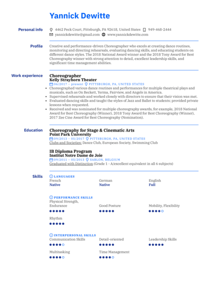 Choreographer Resume Sample