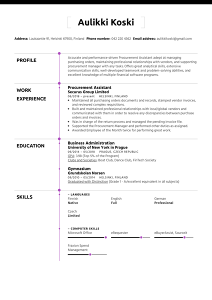 Procurement Assistant Resume Sample