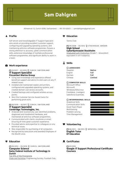 IT Support Specialist Resume Template