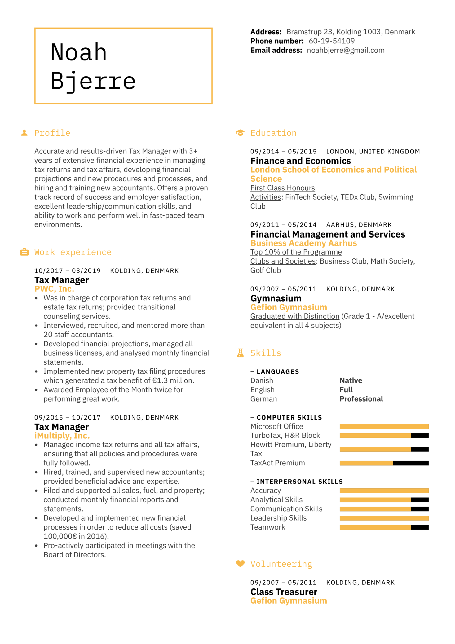 Tax Manager Resume Sample (parte 1)