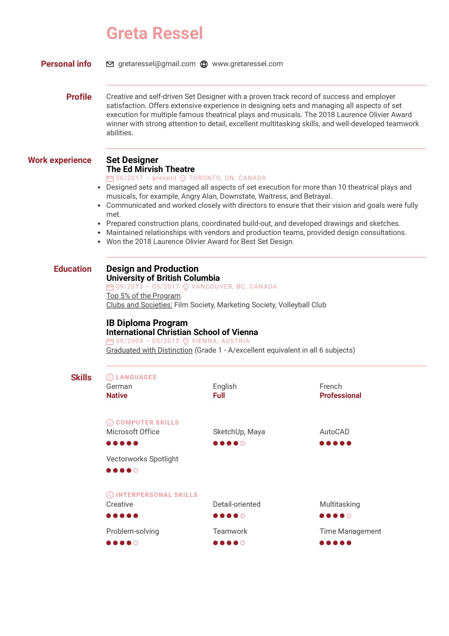 Set Designer Resume Sample