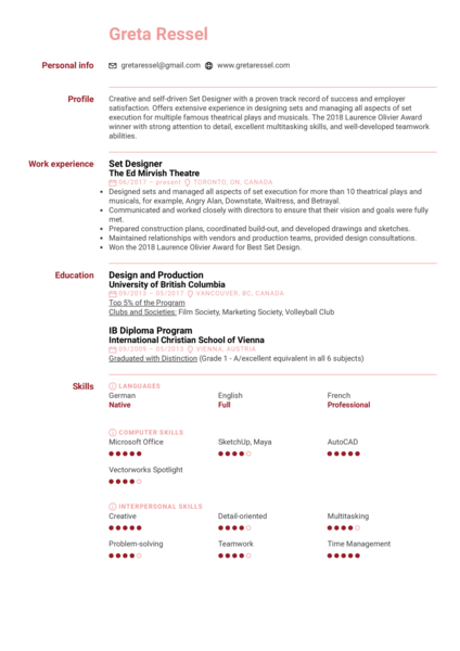 Set Designer Resume Sample