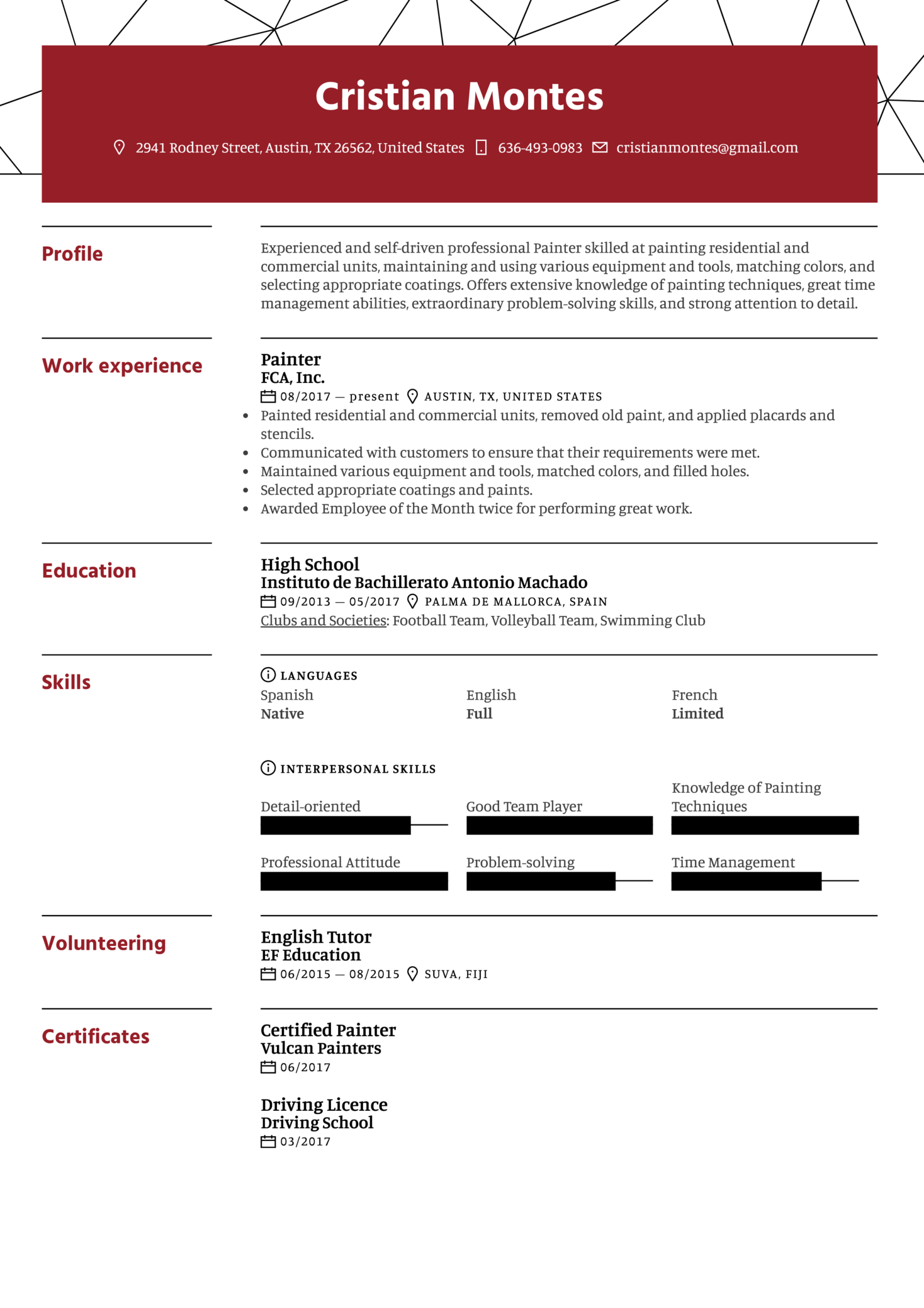Painter Resume Example