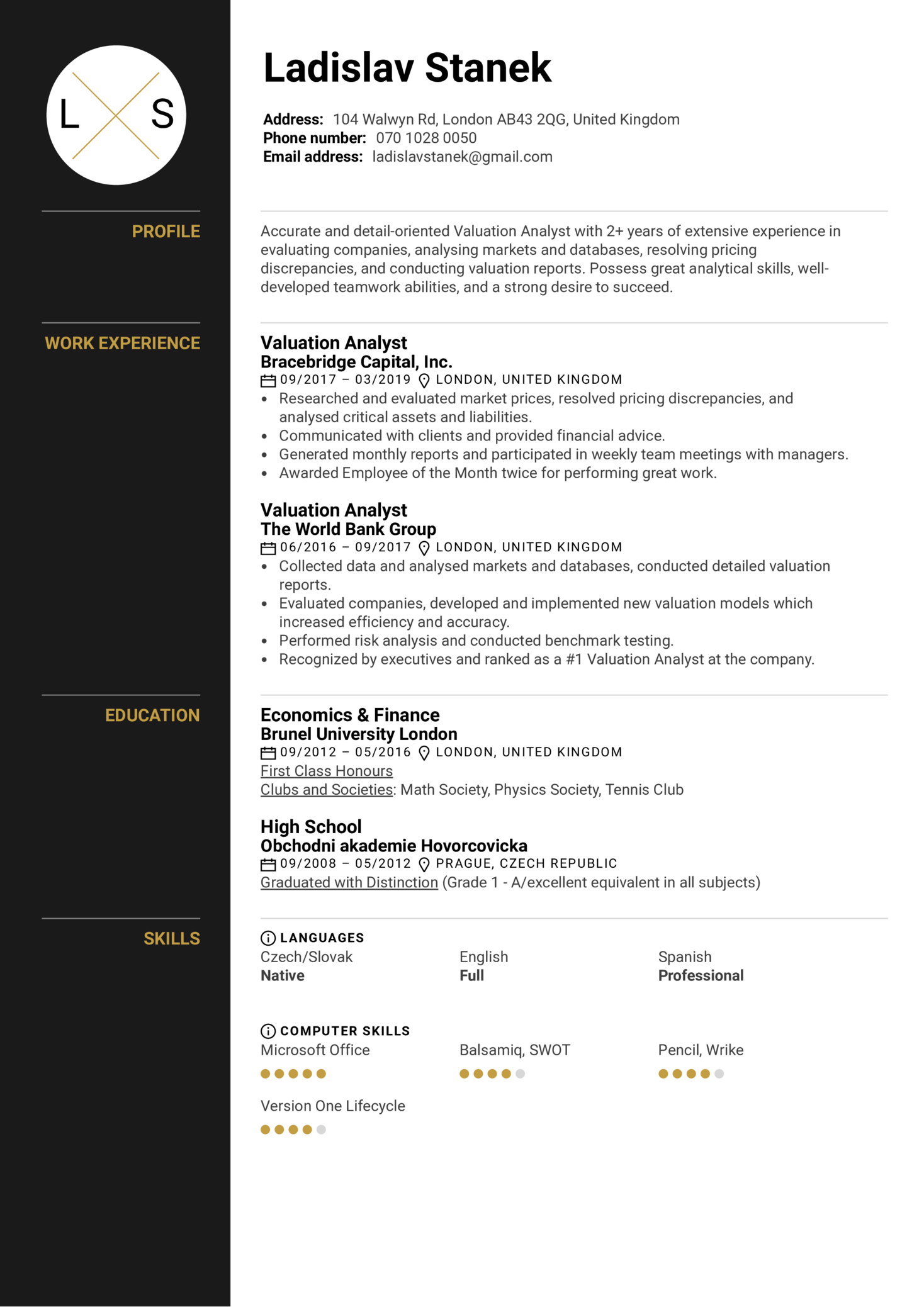 resume examples by real people  valuation analyst resume