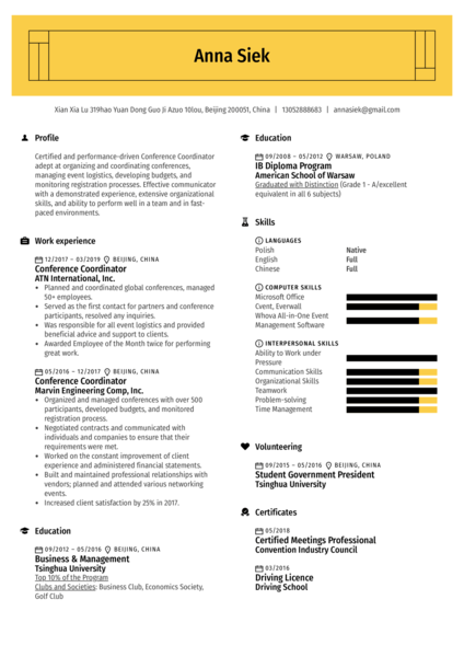 Conference Coordinator Resume Sample