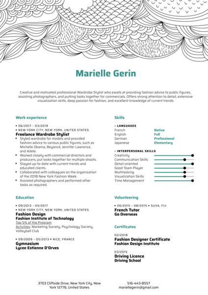 Wardrobe Stylist Resume Sample