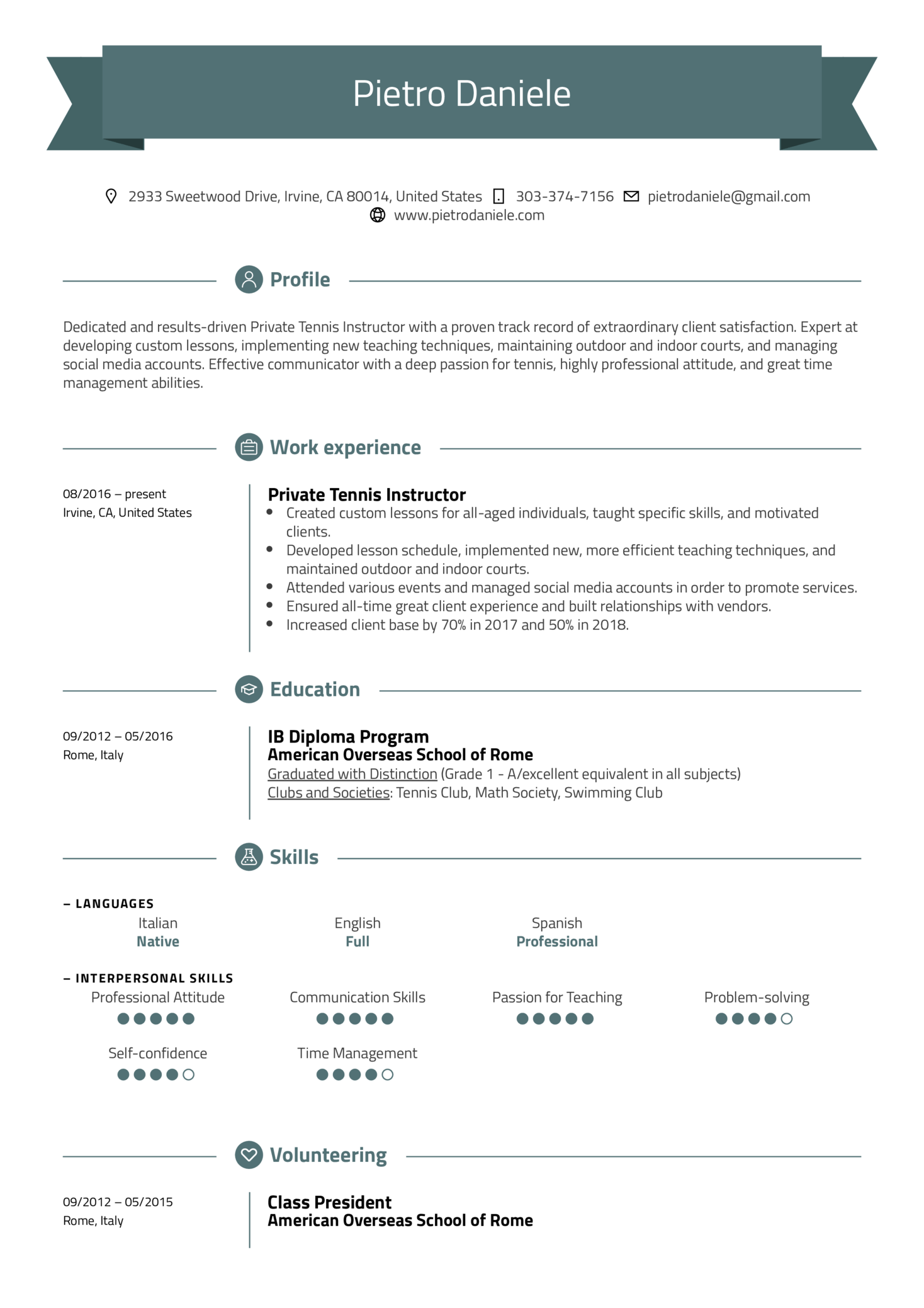 resume examples by real people  tennis instructor resume
