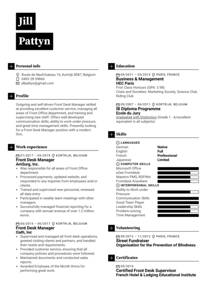 Front Desk Manager Resume Sample