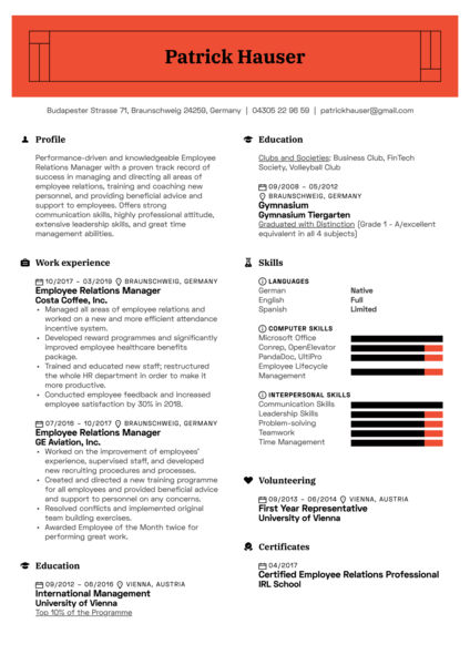 Employee Relations Manager Resume Sample