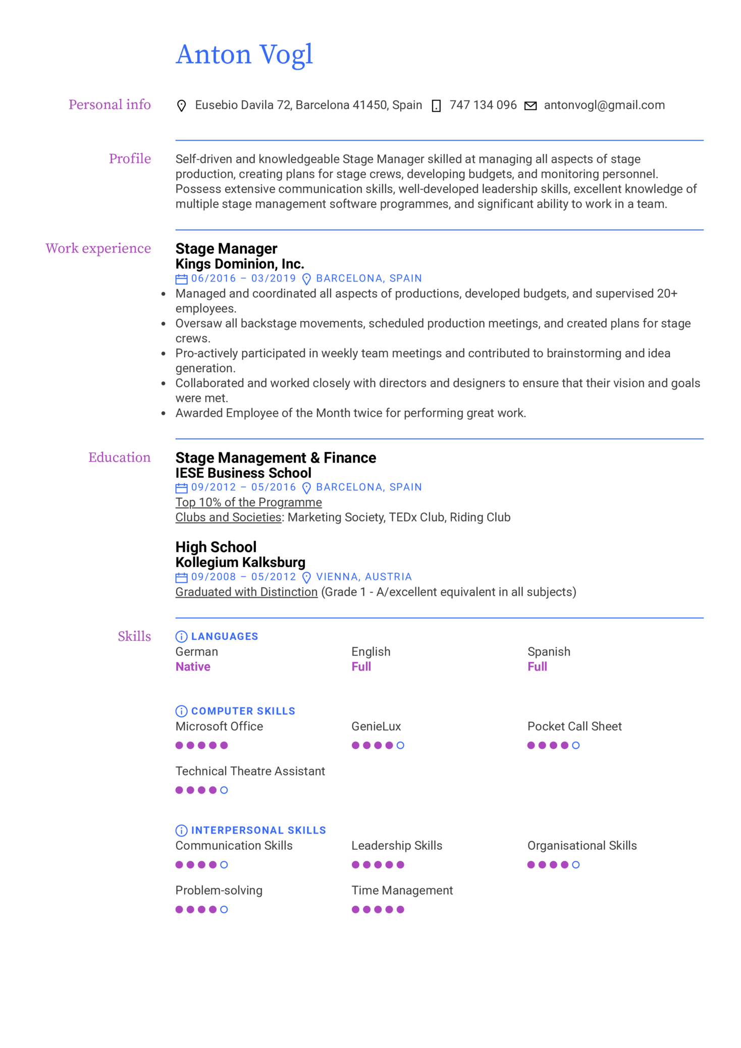 Stage Manager Resume Example Kickresume