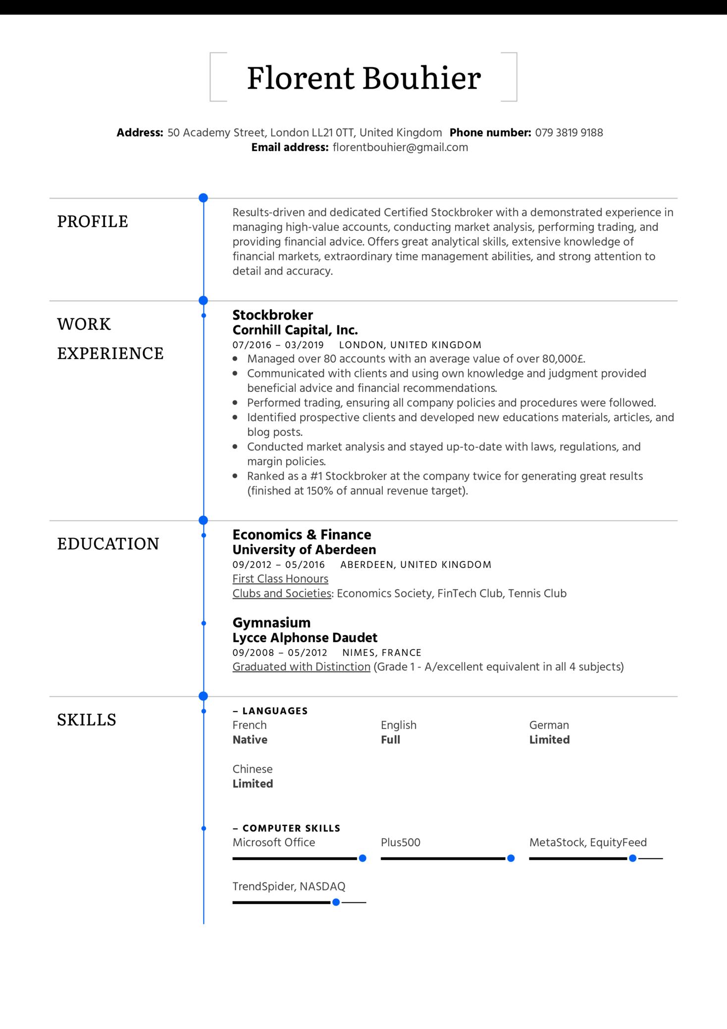Stockbroker Resume Sample