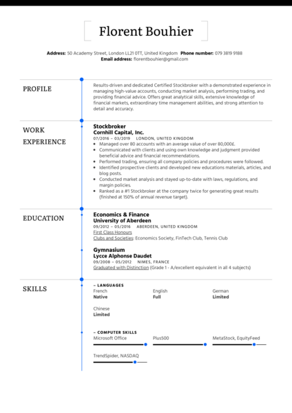 Stockbroker Resume Sample