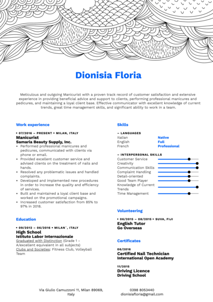 Manicurist Resume Sample
