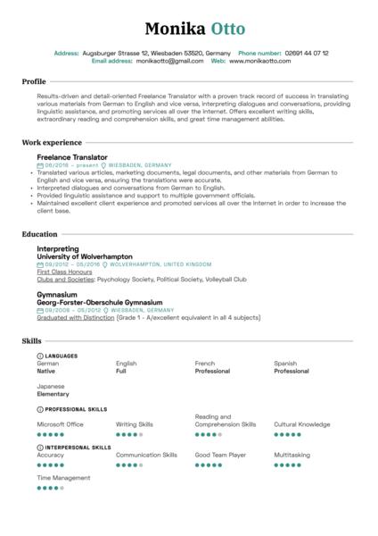 Translator Resume Sample