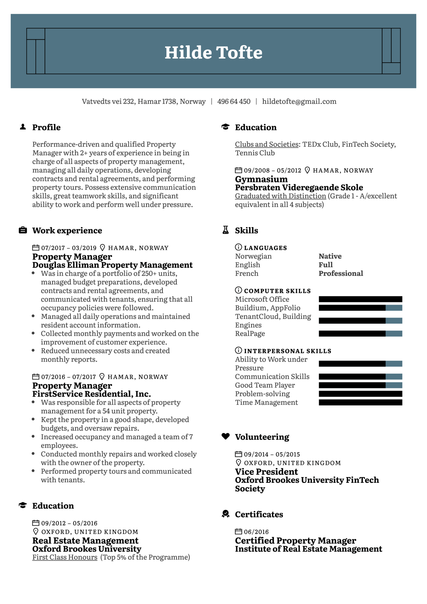 resume examples by real people  property manager resume