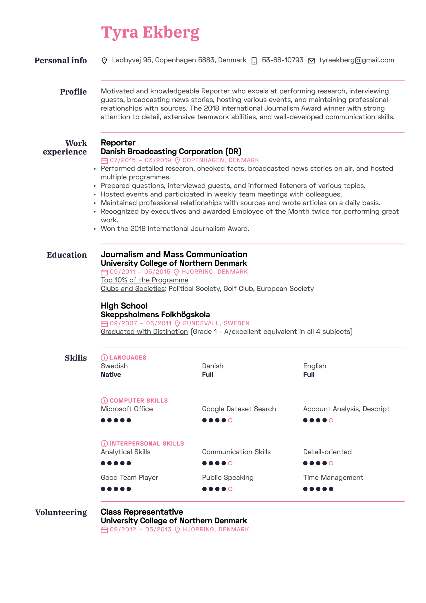 Reporter Resume Sample