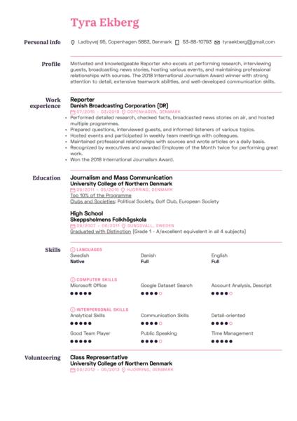 Reporter Resume Sample
