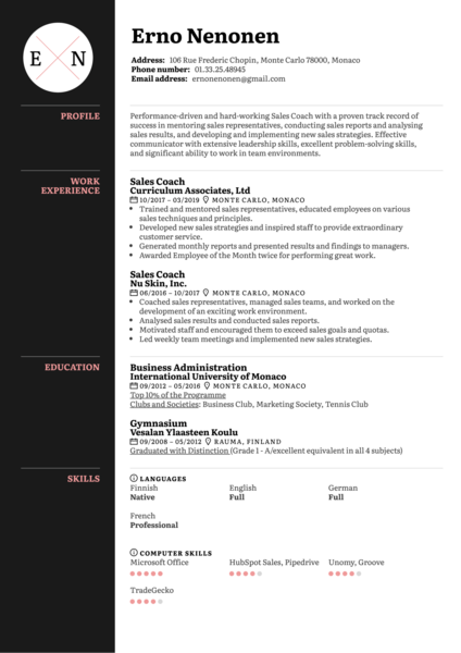 Sales Coach Resume Sample