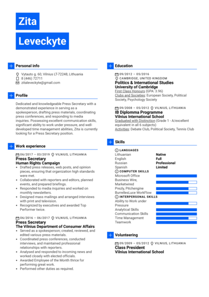 Press Secretary Resume Example